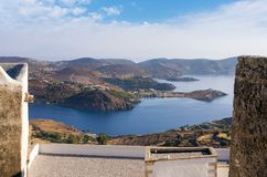 Stunning view from the monastery of Saint John the Theologian in Patmos island, Dodecanese, Greece. Stunning view from the monastery of Saint John the Theologian Stock Images