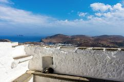 Stunning view from the monastery of Saint John the Theologian in Patmos island, Dodecanese, Greece. Stunning view from the monastery of Saint John the Theologian Royalty Free Stock Photography