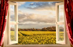 Window open with a view onto farm crops. Stunning view through open window of yellow crops and beautiful sunset through clouds. Evening rays of orange sunshine Stock Photo