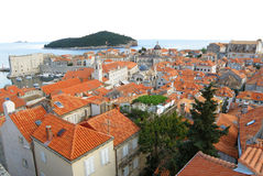 Stunning view of orange tiled roofs of Dubrovnik Old City Royalty Free Stock Image