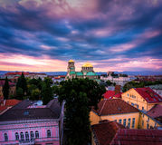 Stunning view over Alexander Nevsky Cathedral in Sofia Bulgaria. Sunset stunning view over the historical centre of Sofia Bulgaira. Beautiful old architecture Royalty Free Stock Photography