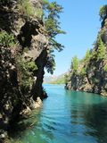 Stunning view over the green canyon. In turkey. This water is so wonderful and green stock photography