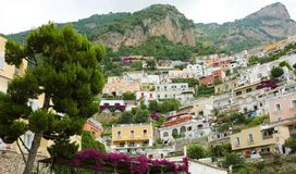 Stunning view of Positano village with flowers, Amalfi Coast, It. Aly stock images