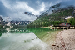 Stunning view of Pragser Wildsee in Dolomites, Europe Royalty Free Stock Photo