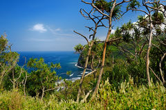 Stunning view of rocky beach of Pololu Valley, Big Island, Hawaii Stock Images