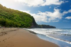 Stunning view of rocky beach of Pololu Valley on Big Island of Hawaii. USA Stock Images