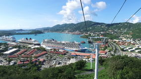 Stunning view of Saint Thomas island,from the cable car;Saint Thomas, U.S. Virgin Islands. 1st of December, 2016 stock footage