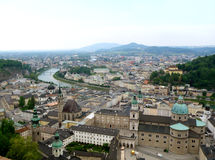 Stunning view of Salzburg Cityscape with Salzach River as seen from Hohensalzburg Royalty Free Stock Image