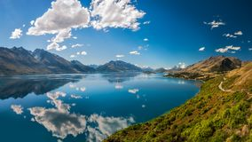 Stunning View from the Scenic Road between Queenstown and Glenorchy. Bennett`s Bluff Lookout, Glenorchy Road, New Zealand -A Viewpoint on one of the most scenic Royalty Free Stock Photos