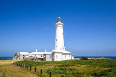 Stunning view of Seal Point Lighthouse in Cape St Francis, Eastern Cape Province, South Africa. The lighthouse has been operational since 1878 and houses a stock photography