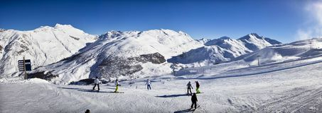 Stunning view of skiing resort in Alps. Royalty Free Stock Photos