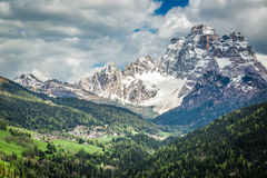 Stunning view of small town in Dolomites Royalty Free Stock Photography