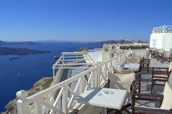 Stunning view from a smartly cafe,Santorini Stock Photo
