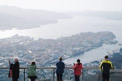 Stunning view. Of Bergen town from Mt. Floyen stock image