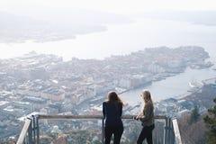 Stunning view. Of Bergen town from Mt. Floyen stock photo