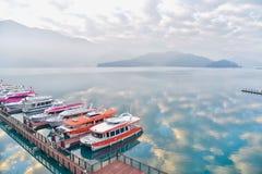 Stunning View of Sun Moon Lake During Sunrise royalty free stock photo