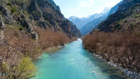 Stunning view to Aoos river and the canyon in Konitsa, Greece. Stunning view to Aoos river and the canyon in Konitsa royalty free stock images