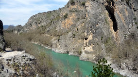 Stunning view to Aoos river and the canyon in Konitsa, Greece. Stunning view to Aoos river and the canyon in Konitsa stock photo