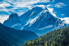 Stunning view to peak in mountains Dolomites, Italy Royalty Free Stock Photo