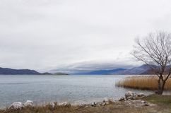 Stunning view to Prespes lakes and the surrounding scenery, Florina, Greece. Stunning view to Prespes lakes and the surrounding scenery, Florina, Macedonia royalty free stock photography