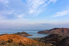 Stunning view to the sea from the chora of Patmos island, Greece, in the evening. Stunning view to the sea from the chora of Patmos island, in the evening royalty free stock photos