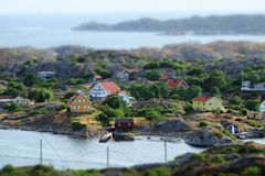 Stunning view to swedish houses at archipelago stock photography
