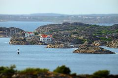 Stunning view to swedish houses at archipelago royalty free stock photos