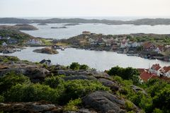 Stunning view to swedish houses at archipelago royalty free stock photography
