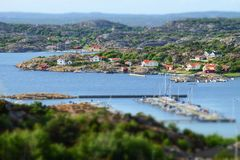 Stunning view to swedish houses at archipelago stock photos