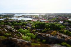 Stunning view to swedish houses at archipelago stock images