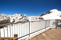 Stunning view to Swiss Alps from the top of Corvatsch peak Royalty Free Stock Photography
