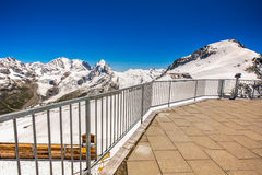 Stunning view to Swiss Alps from the top of Corvatsch peak Royalty Free Stock Image