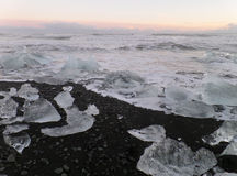 Stunning view of uncountable icebergs on the black sand beach under the sunset sky Stock Photography