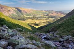 Stunning view of Wasdale in the Lake District National Park (UK). On a beautiful sunny day. Greendale Gill stream in foreground royalty free stock photography