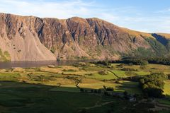 Stunning view of Wast Water and fells in the Lake District National Park in the UK on a beautiful sunny evening stock photo