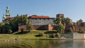 Stunning view of Wawel Castle from the Vistula river in the historic center of Krakow, Poland royalty free stock image