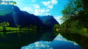 The Spanish Pyrenees. Stunning views across the lake in the Spanish Pyrenees royalty free stock photos