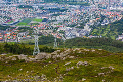 Stunning views of Bergen city from Ulriken Royalty Free Stock Photography