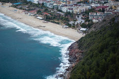 Stunning views of the famous Cleopatra beach from citadel. In Alanya Royalty Free Stock Photo