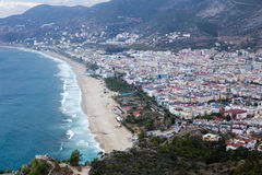 Stunning views of the famous Cleopatra beach from citadel. Stunning views of the famous Cleopatra beach from castle in Alanya Stock Photography