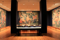 Stunning views of tapestry masterpieces, Cleveland Art Museum, Ohio, 2016. Stunning views of interior contemporary architecture and tapestry masterpieces hung on Royalty Free Stock Photo