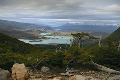 Stunning vista of lake and mountain landscape, Torres del Paine. Hiking out of the french valley, rewarding us with this view. W route torres del paine royalty free stock image
