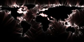 Stunning vivisualization of the world map using kirlian energy photography stock illustration