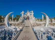 The stunning Wat Rong Khun temple of Chiang Rai, Thailand stock photo