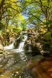 River Avon waterfall. This stunning waterfall can be found in the river Avon on Dartmoor national park. It is located between Avon dam and Shipley bridge near stock photography