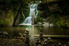 Stunning waterfall in the mountain. stock photo