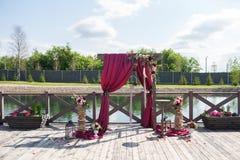 Stunning wedding decor. Stunning wedding red decor at a stylish wedding Royalty Free Stock Image