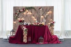 Stunning wedding decor. Stunning wedding red decor at a stylish wedding Stock Photos