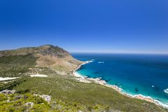 Stunning wide angle panoramic view of Sandy Bay Beach near Llandudno and Hout Bay Stock Photos
