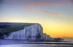 Stunning Winter landscape sunrise above the Seven Sisters cliffs Royalty Free Stock Image